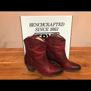 Frye Jackie Button Burgandy Boots